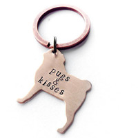 pug dog keychain, pugs and kisses, personalized pug jewelry