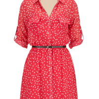 belted polka dot shirtdress