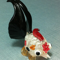 Hand Blown Glass Funny Tiny Goldfish Fish Animal Cute Red Orange Black White Figurine Statue Decoration Collectible Small Craft Hand Painted
