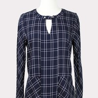 Adele Navy Blue Plaid Blouse