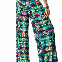 Womens Teal Pink Blue Geometric Abstract Tribal Print Silky Wide Leg PalazzoBoho Yoga Pants Size S M L