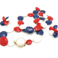 Vintage Necklace and Earrings Signed West Germany, Red White and Blue Earrings, Red White and Blue Necklace, Patriotic Jewelry