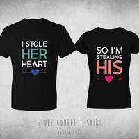 Couples Matching T-Shirts - Black Cute Typography Qualtiy Set of 2 Tops - I Stole her Heart so I'm Stealing His Couple Shirts