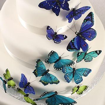 Hand Painted Butterfly - (24) Assorted Sizes Natural Elegance (Pack of 24)