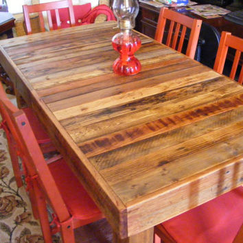 """Rustic Reclaimed Wood Dining Table or Desk 60"""" x 30"""" x 30"""" high Use Indoors or Out"""