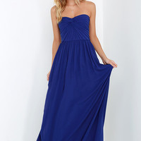 Sapphires or Rubies Royal Blue Strapless Maxi Dress