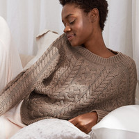 Aerie Cable Sweater, Oatmeal Heather