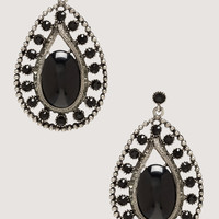 bebe Womens Oversized Teardrop Earrings Black Silver