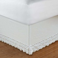 """Greenland Home Fashions Accessories Collection Crochet Lace White Color Full Bed Skirt 18"""""""