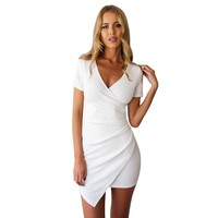 Woman Pencil Dresses Chic Elegent Deep VNeck Slim Work Party Wear Hip Package Mini Dress Female Vestidos White Black