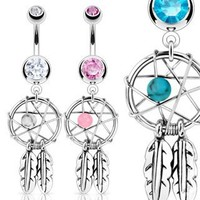 "Aqua Dreamcatcher with Cz Belly Navel Ring - 14g - 3/8"" Bar Length, Sold Individually"