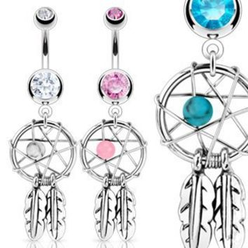 """Aqua Dreamcatcher with Cz Belly Navel Ring - 14g - 3/8"""" Bar Length, Sold Individually"""