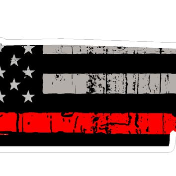 Thin Red line decal - State of Tennessee Grey Tattered Flag Decal - Various Sizes