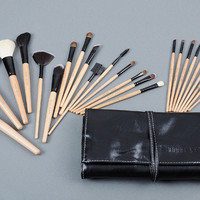 24 Pcs Makeup Brushes Set Professional Bobbi Brown Brand Wood Color Make Up Brush Kits Cosmetics Tools with Roll Up Case