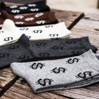 New Winter Autumn Novelty Men's Long Socks Harajuku Money Dollar Patterned Socks Funny Cartoon Sock Pure Cotton For Men WZ033