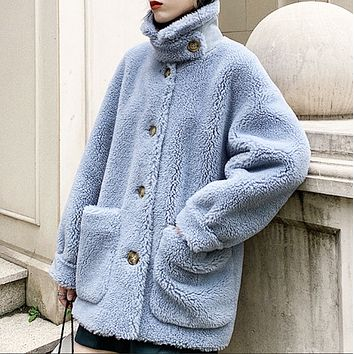New hot-selling granular cashmere and lamb hair composite fur one-piece warm fur coat