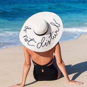 Do Not Disturb Embroidery Folded Floppy Hat