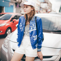 Hot Deal On Sale Sports Women's Fashion Summer Blue Jacket Alphabet Print Long Sleeve Baseball [6308614532]