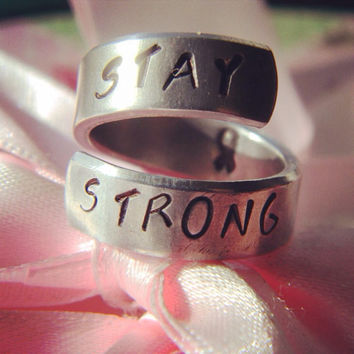 Stay strong ribbon inside    aluminum spiral style ring 1/4 inch