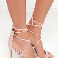 LULUS Romy Dusty Rose Lace-Up Heels