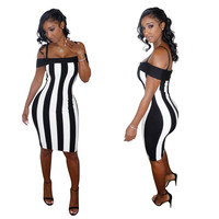 Vertical Stripe Off Shoulder Straps Bodycon Dress