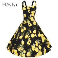 Sleeveless Lemon Button Vintage 1950's Cocktail Party Dress