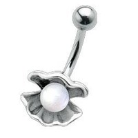 Clamshell with Pearl - Belly Button Ring - No Tarnish