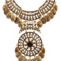 Golden Faceted Stone Statement Coin Necklace