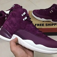 "【FREE SHIPPING】Air Jordan 12 ""Bordeaux"" 130690-617 Maroon Heiress Silver Sail Sneaker AJ12"