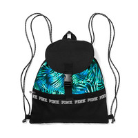 Campus Drawstring Backpack with Flap - PINK - Victoria's Secret