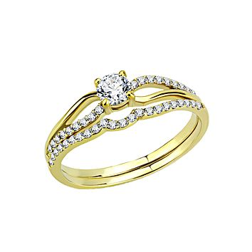 Loretta - Women's Stainless Steel Gold IP AAA Grade CZ Wedding Set
