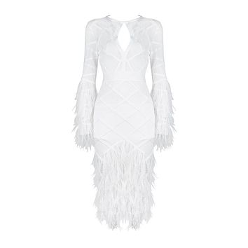 NORI High Neck Long Sleeve Over Knee Meshed Feathered Designed Dress