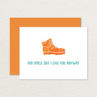 You Smell But I Like You Anyway Watercolor Boot A2 Printable Card / Funny Relationship Card / Friendship Card