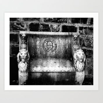 Black and White Medusa and Lion Bench Peles Castle Romania Art Print by shawnelizaphotography