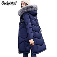 Geckoistail New Winter Womens Fashion Parka Coats Fur Collar Thick Down Cotton Jackets Slim Women Long Parkas Outwear Plus Size