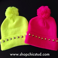 Studded Pom Pom Beanie - Neon Yellow or Hot Pink Beanie Hat - Gold, Silver, or Black Studs