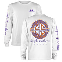 Simply Southern Preppiness Gameday Football Bow Purple Orange Long Sleeve T-Shirt