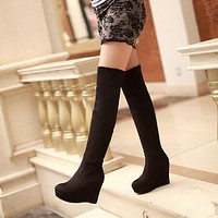 Women's Platform Wedges Tall Boots