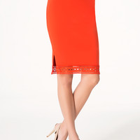bebe Womens Eyelet Trim Midi Skirt Poinciana