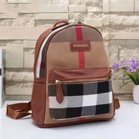 BURBERRY Women Shopping Leather Metal old plaid Backpack  red Khaki