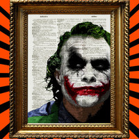 Heath Ledger Joker From Batman The Dark Knight DC Comics Upcycled Recycled Vintage Dictionary Page Book Art 8x10