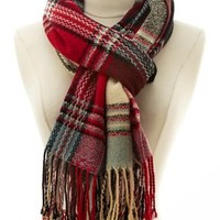 Plaid Fringe Wrap Scarf by Charlotte Russe - Blue Combo