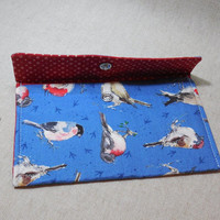 Beautiful Blue Fabric Pouch With Sketchbook Bird Fabric