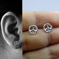 Peace Sign Sterling Silver Earrings, Peace Sign Studs, Peace Sign Post Earrings, Tiny Peace Sign Earrings, Hippie Post Earrings