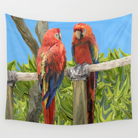 Scarlet Macaw Parrots Perching Wall Tapestry by Distortion Art