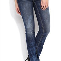 Z Co Slim Bootcut Jean with Marble Wash and Geometric Embroidery