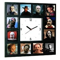 GLOW-IN-THE-DARK Horror Movie  Hannibal Lecter, Pinhead, Pumpkinhead, Chucky, Leatherface, Scream, Captain Spaulding, Michael Myers, Jason Voorhees, Creeper, Pennywise, Freddy Krueger, Halloween Clock