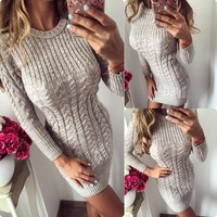New 2019 Autumn Winter Warm Sweater Dress Women Sexy Slim Bodycon Dress Female O Neck Long Sleeve Knitted Dress Vestidos designer clothes