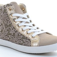 Floral Lace Deco Lace-up Round Toe Flat Fashion Sneaker