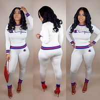 Champion Popular Women Casual Print Stripe Long Sleeve Top Pants Set Two-Piece Sportswear White
